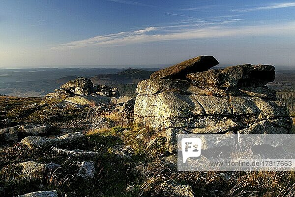 View of the Harz Mountains from the top of the Brocken  granite blocks  Blocksberg  summit plateau  Harz National Park  Schierke  Werningerode  Harz Mountains  Saxony-Anhalt  Germany  Europe View of the Harz Mountains from the top of the Brocken, granite blocks, Blocksberg, summit plateau, Harz National Park, Schierke, Werningerode, Harz Mountains, Saxony-Anhalt, Germany, Europe
