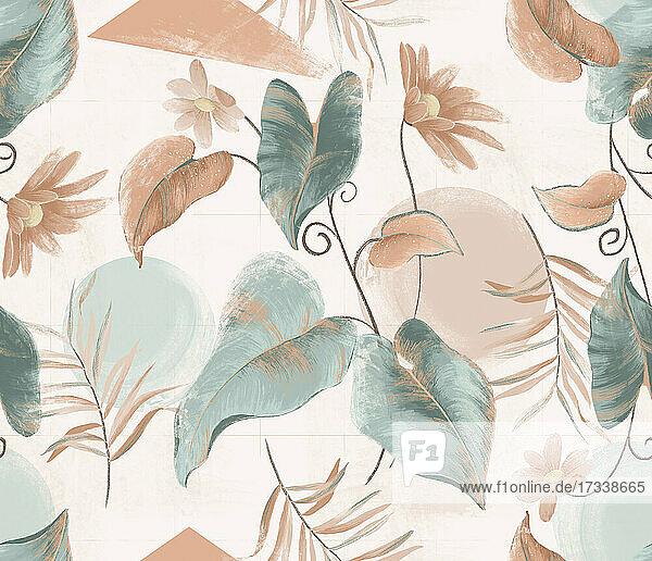 Pastellfarbenes Blatt- und Blumenmuster