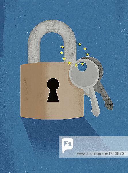 Verschlossenes Vorhängeschloss der Europäischen Union