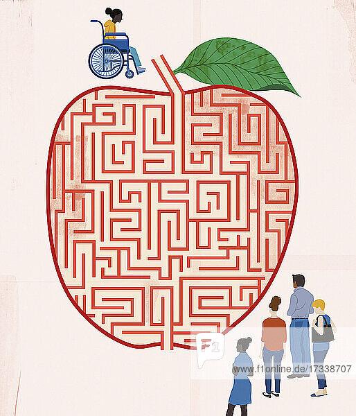 Studentin im Rollstuhl hat Probleme beim Zugang zu Bildung