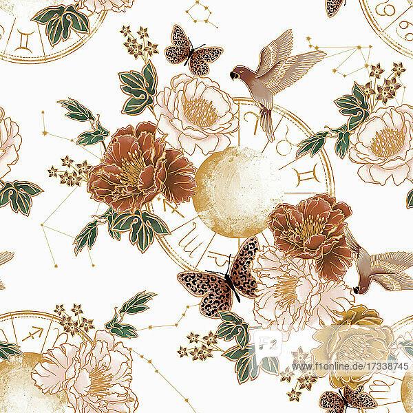 Vögel  Schmetterlinge und Blumen über astrologischen Symbolen