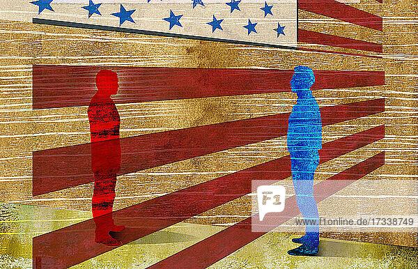 Rote und blaue Männer durch amerikanische Flagge getrennt