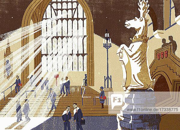 Menschen in der Westminster Hall