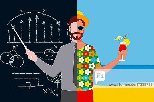 Lehrer mit geteiltem Bildschirm bei der Arbeit und im Urlaub