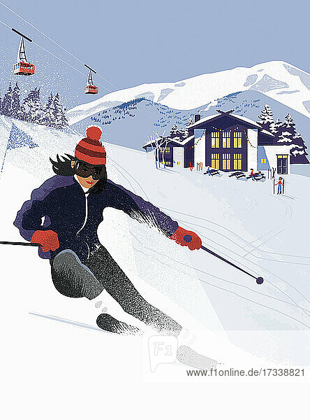 Frau beim Skifahren im Skigebiet