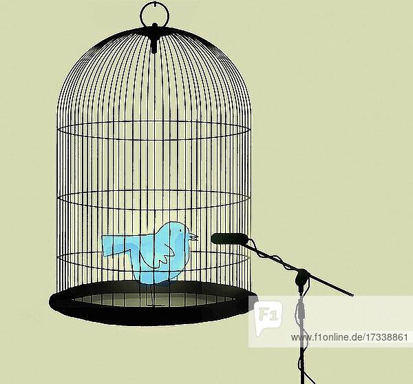 Vogel spricht in Mikrofon aus Vogelkäfig