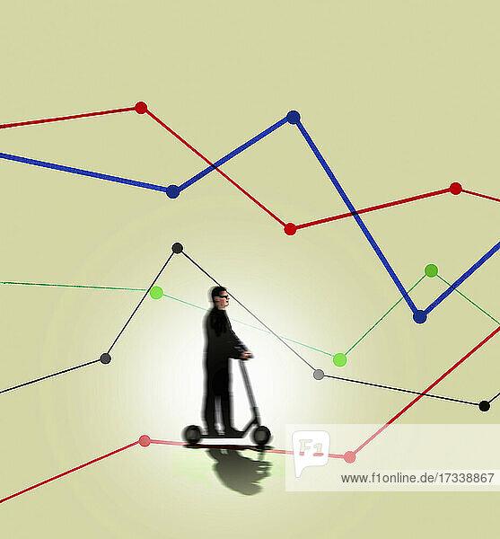 Mann fährt mit einem Elektroroller entlang eines Liniendiagramms