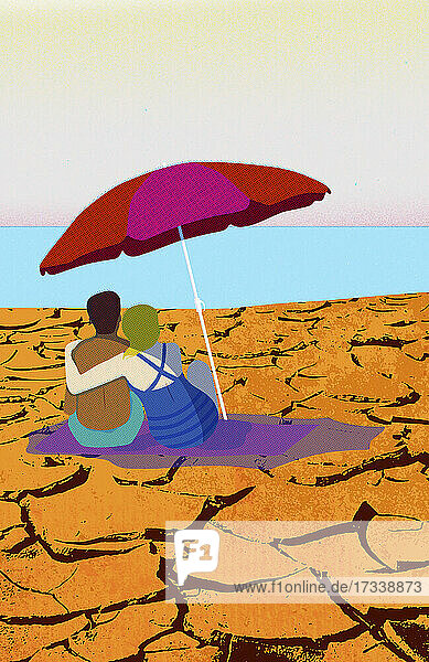 Pärchen unter Sonnenschirm am trockenen  rissigen Strand