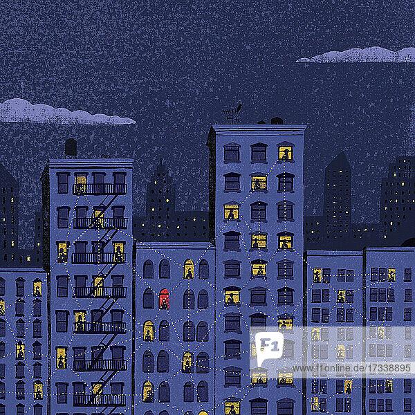 Alleinstehende in einem Wohnblock  die mit ihren Nachbarn in Kontakt bleiben
