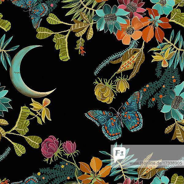 Leuchtende Schmetterlinge und Blumen bei Nacht