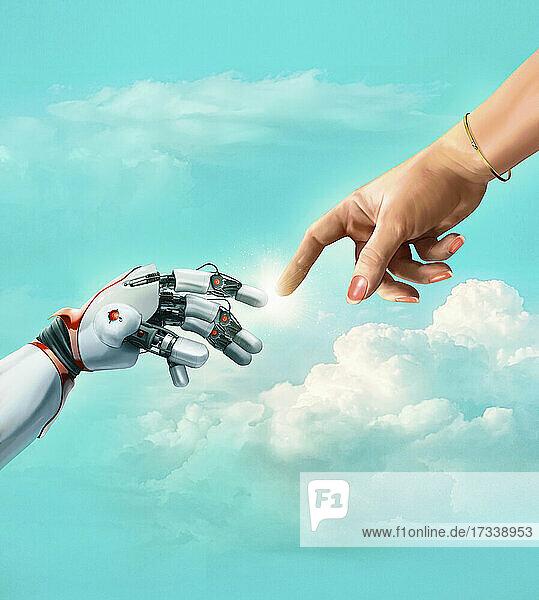 Roboter und weibliche Hand  die sich berühren