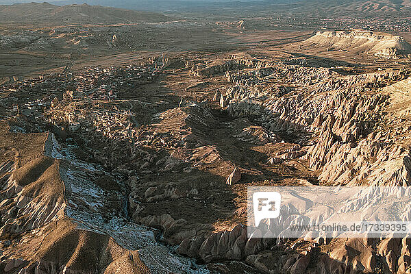 Turkey  Cappadocia  Aerial view of rock formations in Rose Valley