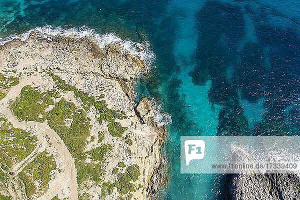 Malta  Gozo  Aerial view of Hondoq ir Rummien coast and sea