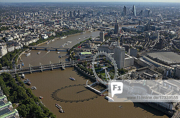 UK  London  Aerial view of River Thames and Westminster cityscape