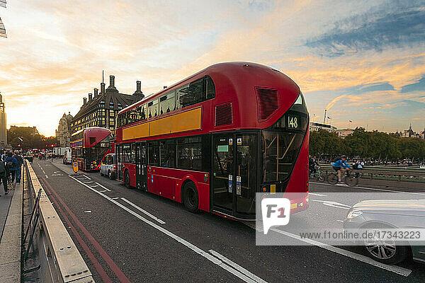 UK  London  Traffic on Westminster Bridge