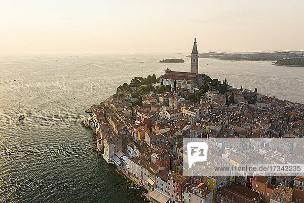 Croatia  Istria  Rovinj  Aerial view of old town with Church of St. Euphemia