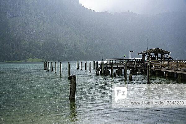 Germany  Bavaria  Pier on Koenigsee in Berchtesgaden National Park