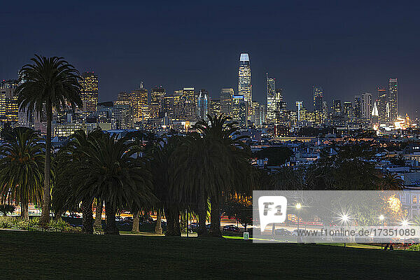 View from Dolores Park of the skyline of San Francisco  California  United States of America  North America