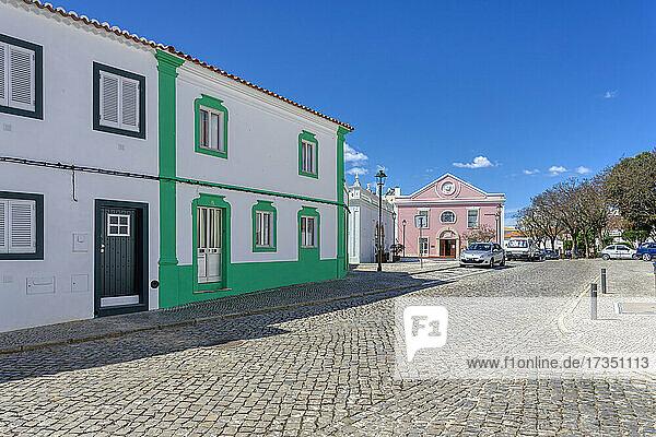 Street and municipal library  Lagoa  Algarve  Portugal  Europe