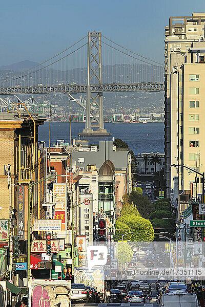 View from California Street to Oakland Bay Bridge  San Francisco  California  United States of America  North America