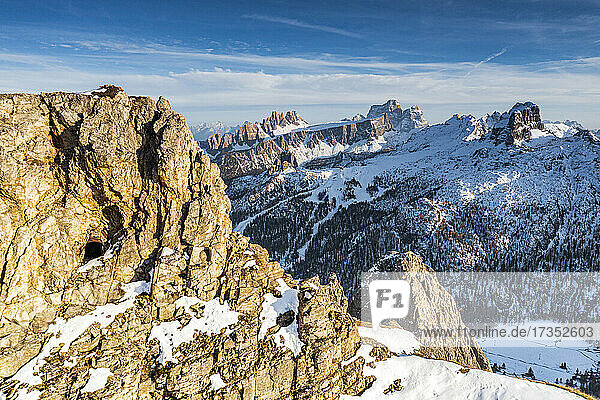 First World War rock tunnels on Mount Lagazuoi with Pelmo and Nuvolau peaks on background  aerial view  Natural Park of the Ampezzo Dolomites  Veneto  Italy  Europe
