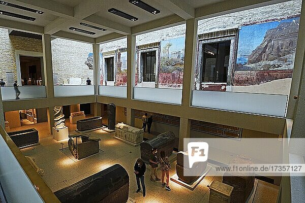 Statues and Sarcophagi in the Egyptian Courtyard  Egyptian Museum  Neues Museum  Museum Island  Berlin  Germany  Europe