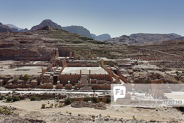 Centre  large temple  in front of it colonnaded street  on the right ThemenosGate to the Holy District with the main temple Qasr al-Bint  south Wadi (Musa)  Petra  UNESCO World Heritage Site  Kingdom of Jordan