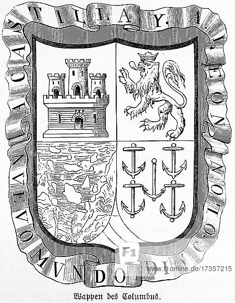 The coat of arms of Christopher Columbus with fort  lions  map and anchors  historical illustration from 1881