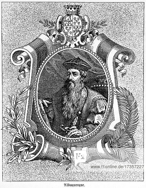 Alfonso D. Albuquerque (1452-1515)  military  politician and navigator  second governor of Portuguese India  historical illustration from 1881