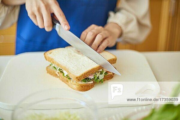 Japanerin beim Kochen zu Hause