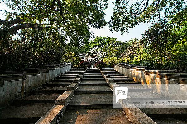 Blick auf den Kowloon-Park mit Skulpturenweg in Hongkong Blick auf den Kowloon-Park mit Skulpturenweg in Hongkong