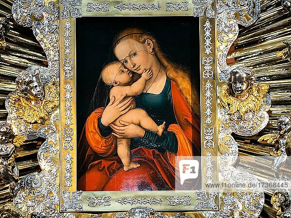 Graceful image of Mary Help  image of Mary by Lucas Cranach the Elder  St. Jacob's Cathedral Church in Innsbruck  Innsbruck  Tyrol  Austria  Europe Graceful image of Mary Help, image of Mary by Lucas Cranach the Elder, St. Jacob's Cathedral Church in Innsbruck, Innsbruck, Tyrol, Austria, Europe