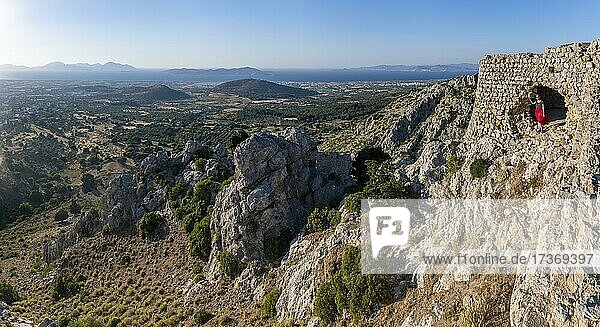 View over the island to the sea  ruins of Paleo Pyli Castle  Kos  Dodecanese  Greece  Europe View over the island to the sea, ruins of Paleo Pyli Castle, Kos, Dodecanese, Greece, Europe
