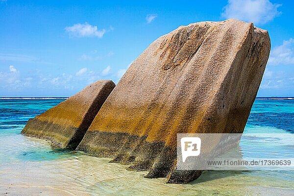 Anse Source d'Argent  Strand mit Granitfelsen  La Digue  Seychellen  La Digue  Seychellen  Afrika Anse Source d'Argent, Strand mit Granitfelsen, La Digue, Seychellen, La Digue, Seychellen, Afrika