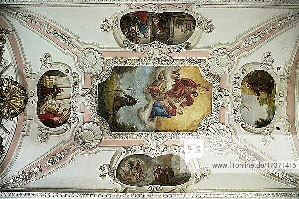 Ceiling frescoes  St. Magnus Catholic Parish Church  Lenzfried  Kempten  Upper Bavaria  Bavaria  Germany  Europe