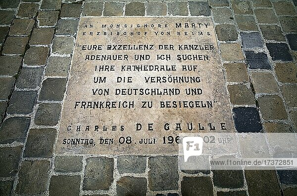 Inlaid floor panel  commemorative plaque in honour of Konrad Adenauer and Charles de Gaulle  Franco-German reconciliation after the Second World War  in front of Notre-Dame Cathedral  UNESCO World Heritage Site  Reims  Champagne  France  Europe