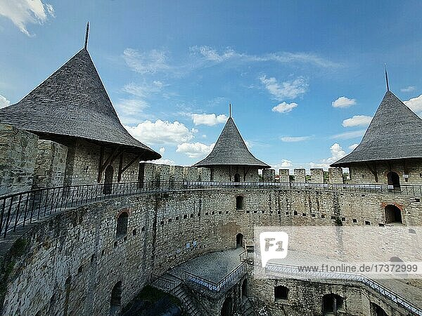 Soroca Fortress view from inside. Ancient military fort  historical landmark located in Soroca city  Moldova. Old stone walls fortifications  towers and bastions of medieval citadel