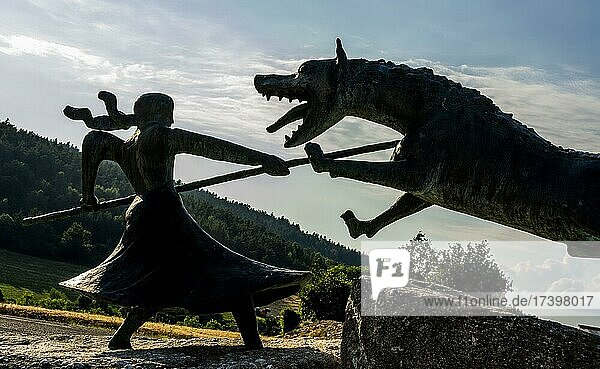 Auvers village  monument commemorating the battle of Marie Jeanne Valet and the Beast of Gevaudan by Philippe Kaeppelin  Margeride  Haute Loire departemnt  Auvergne-Rhone-Alpes  France  Europe