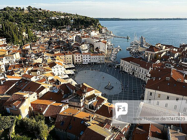 View of Tartini Square from the tower of St. George's Cathedral  Piran  Istria  Slovenia  Europe