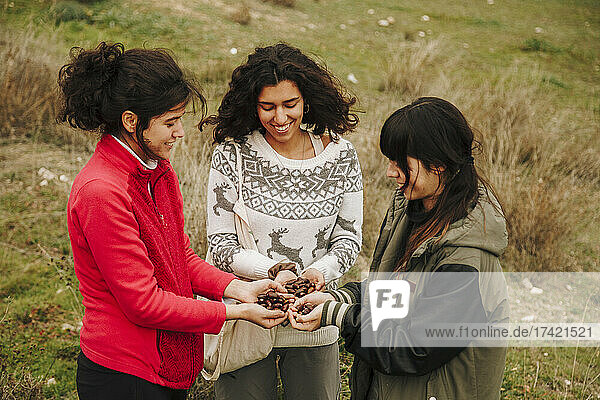 Young female friends looking at acorns in field