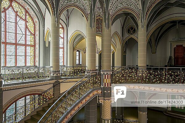 Halle Regional Court  magnificent staircase  Halle  Saxony-Anhalt  Germany  Europe