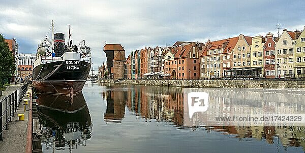 The old town of Gdansk with the first tanker built at the Gdansk shipyard  Gdansk  Poland  Europe