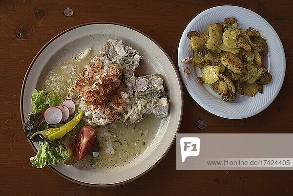 Brawn with onions and fried potatoes  Bavaria  Germany  Europe