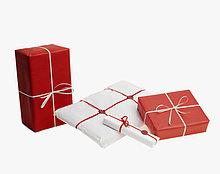 Weihnachtsgeschenke auf weißem Grund.