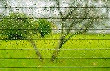 Regen auf erhitzt hinten Windschutzscheibe