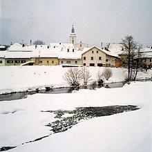 Deutschland, Bayern, Rinchnach, Stadt Ansicht im winter