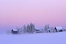 Morgendliche Winterstimmung mit altem Spycher im Vordergrund, Lindenberg, Aargau, Schweiz, Europa