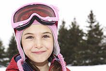 Close-up of girl wearing ski goggles, King City, Ontario