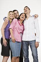 Portrait ,lachen ,umarmen ,Menschengruppe, Menschengruppen, Gruppe, Gruppen