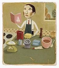Mann mit Kochbuch backt in der Küche
